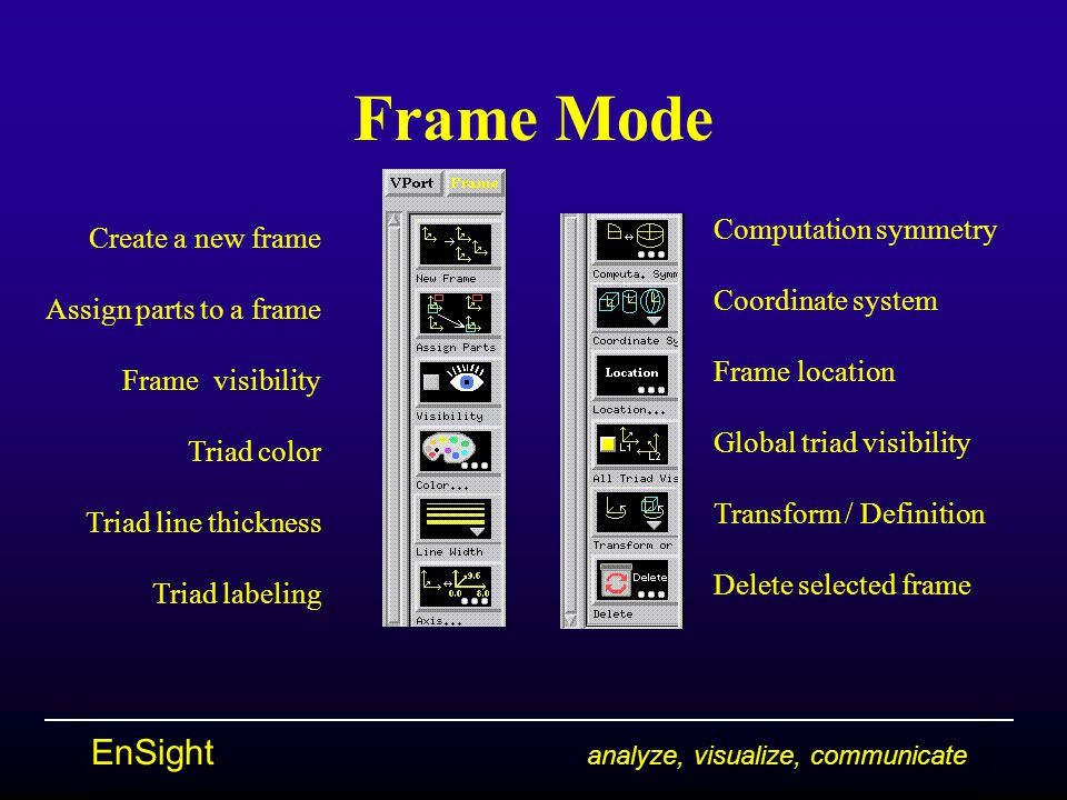EnSight analyze, visualize, communicate Frame Mode Create a new frame Assign parts to a frame Frame visibility Triad color Triad line thickness Triad labeling Computation symmetry Coordinate system Frame location Global triad visibility Transform / Definition Delete selected frame