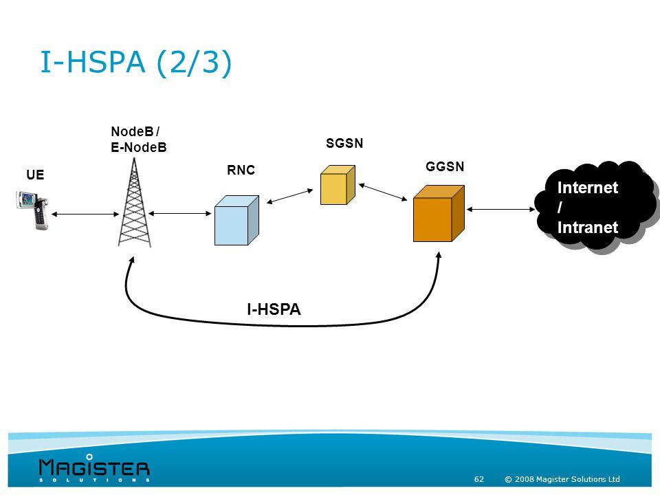 62 © 2008 Magister Solutions Ltd I-HSPA (2/3) UE NodeB / E-NodeB RNC SGSN GGSN Internet / Intranet Internet / Intranet I-HSPA