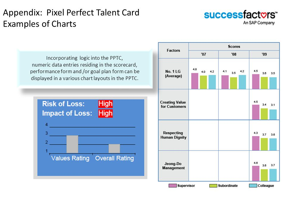 Appendix: Pixel Perfect Talent Card Examples of Charts Sample Charts for PPTCs Incorporating logic into the PPTC, numeric data entries residing in the scorecard, performance form and /or goal plan form can be displayed in a various chart layouts in the PPTC.