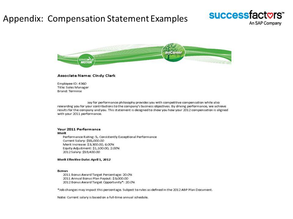 Appendix: Compensation Statement Examples