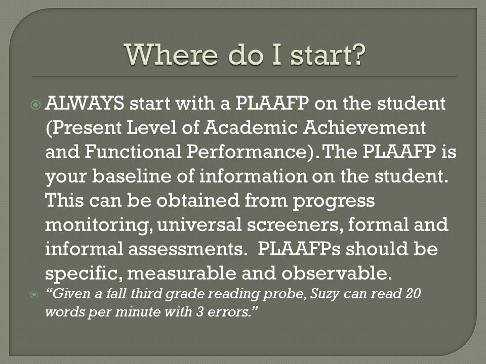  ALWAYS start with a PLAAFP on the student (Present Level of Academic Achievement and Functional Performance).