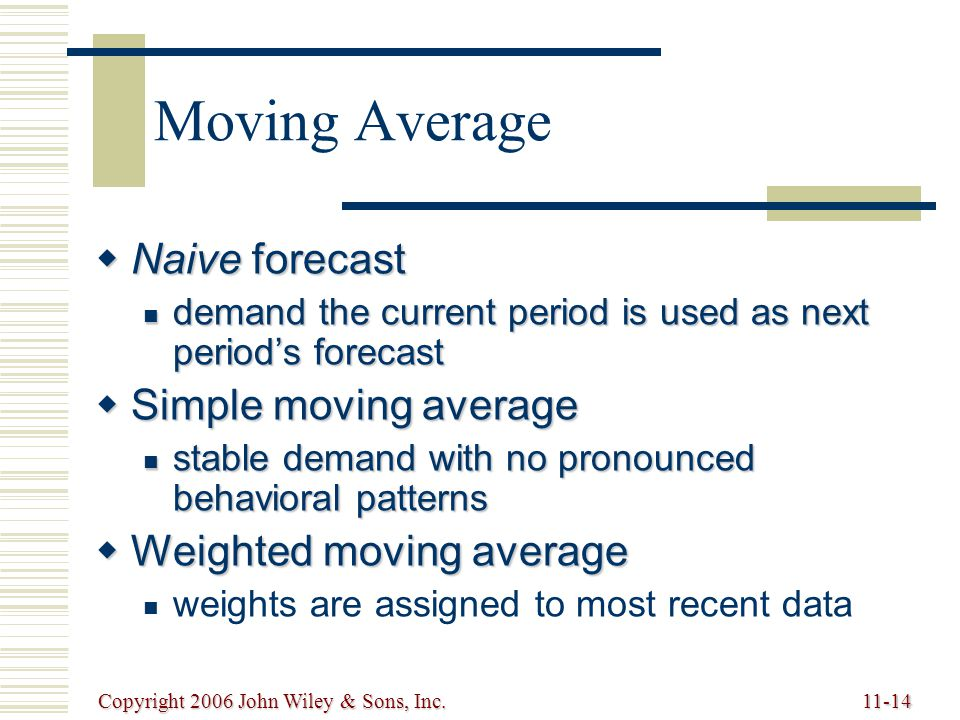 Copyright 2006 John Wiley & Sons, Inc.11-14 Moving Average  Naive forecast demand the current period is used as next period's forecast demand the current period is used as next period's forecast  Simple moving average stable demand with no pronounced behavioral patterns stable demand with no pronounced behavioral patterns  Weighted moving average weights are assigned to most recent data