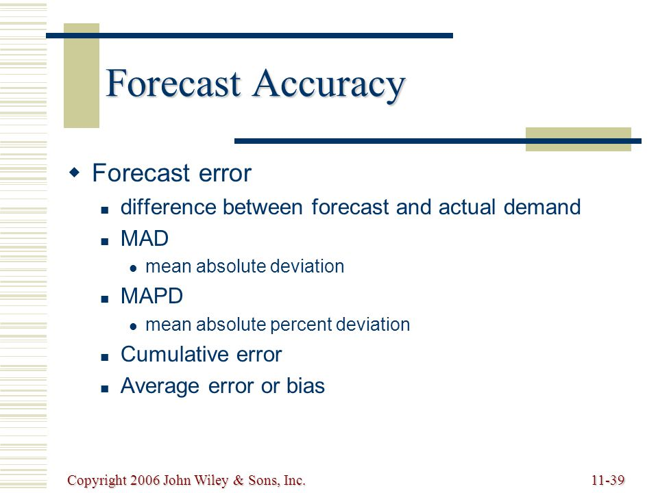 Copyright 2006 John Wiley & Sons, Inc.11-39 Forecast Accuracy   Forecast error difference between forecast and actual demand MAD mean absolute deviation MAPD mean absolute percent deviation Cumulative error Average error or bias