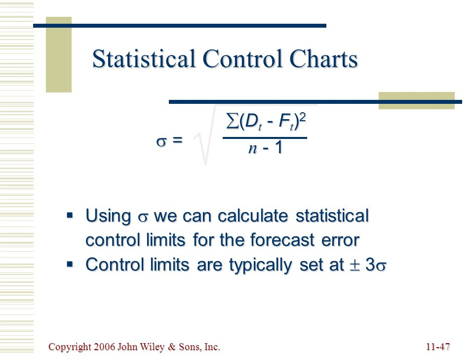 Copyright 2006 John Wiley & Sons, Inc.11-47 Statistical Control Charts  = = = =  (D t - F t ) 2 n - 1  Using  we can calculate statistical control limits for the forecast error  Control limits are typically set at  3 