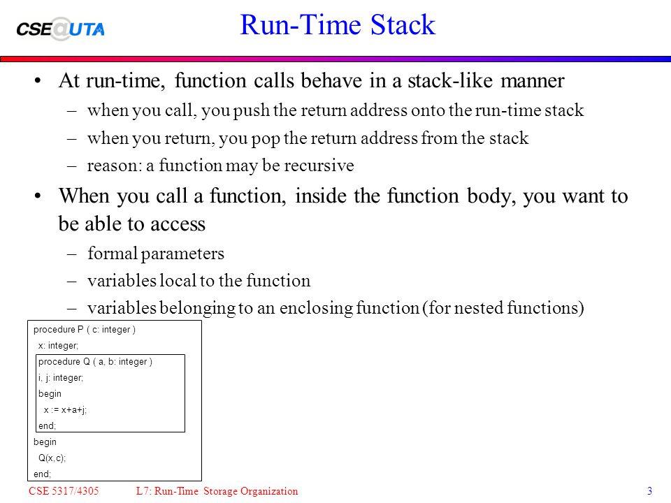 CSE 5317/4305 L7: Run-Time Storage Organization14 The Code for a Function Body Prologue: Mem[$sp] = $fp; store $fp $fp = $sp; new beginning of frame $sp = $sp+frame_size; create frame save return_address save static_link Epilogue: restore return_address $sp = $fp; pop frame $fp = Mem[$fp]; follow dynamic link return using the return_address