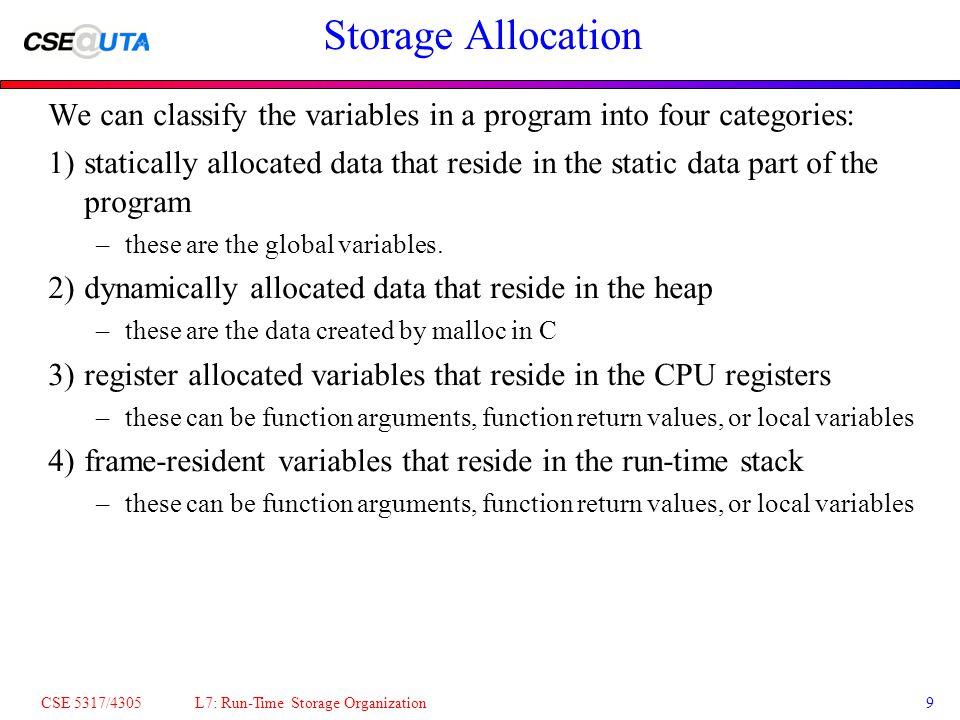 CSE 5317/4305 L7: Run-Time Storage Organization10 Frame-Resident Variables Every frame-resident variable (ie.