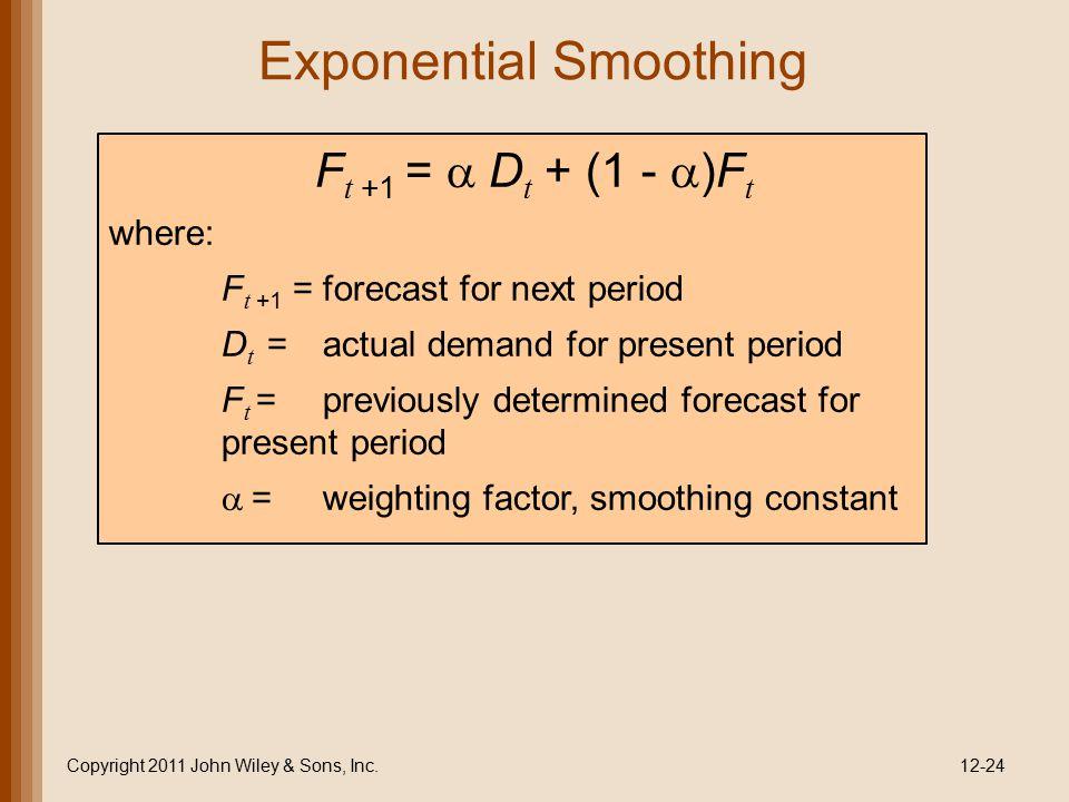 Exponential Smoothing Copyright 2011 John Wiley & Sons, Inc.12-24 F t +1 =  D t + (1 -  )F t where: F t +1 =forecast for next period D t =actual de