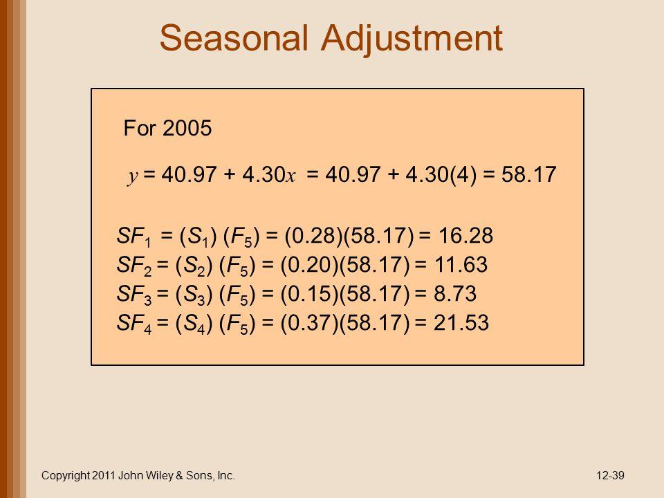 Seasonal Adjustment Copyright 2011 John Wiley & Sons, Inc.12-39 SF 1 = (S 1 ) (F 5 ) = (0.28)(58.17) = 16.28 SF 2 = (S 2 ) (F 5 ) = (0.20)(58.17) = 11