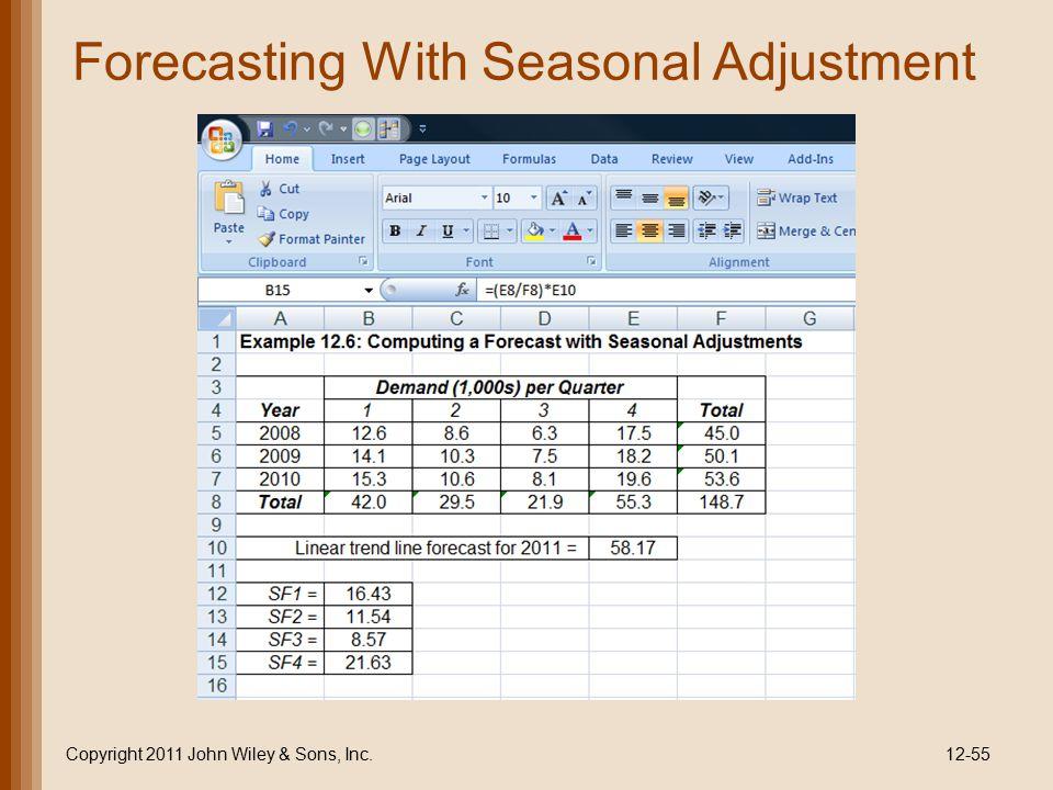 Forecasting With Seasonal Adjustment Copyright 2011 John Wiley & Sons, Inc.12-55