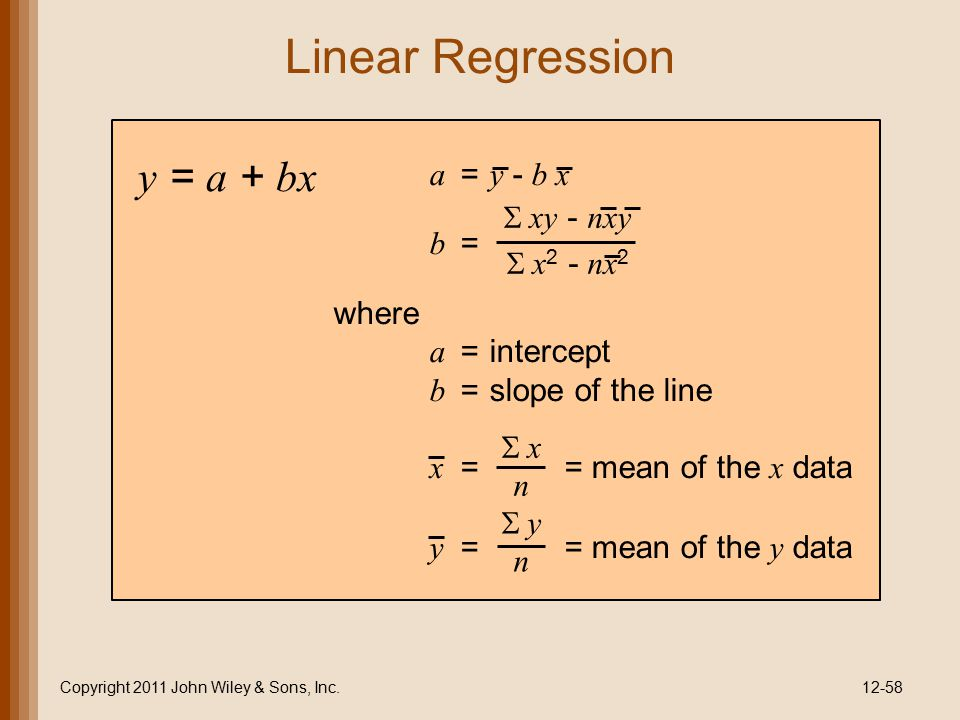 Linear Regression Copyright 2011 John Wiley & Sons, Inc.12-58 y = a + bx a = y - b x b = where a =intercept b =slope of the line x == mean of the x da
