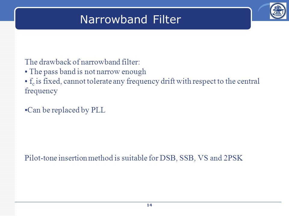 Narrowband Filter The drawback of narrowband filter: The pass band is not narrow enough f c is fixed, cannot tolerate any frequency drift with respect