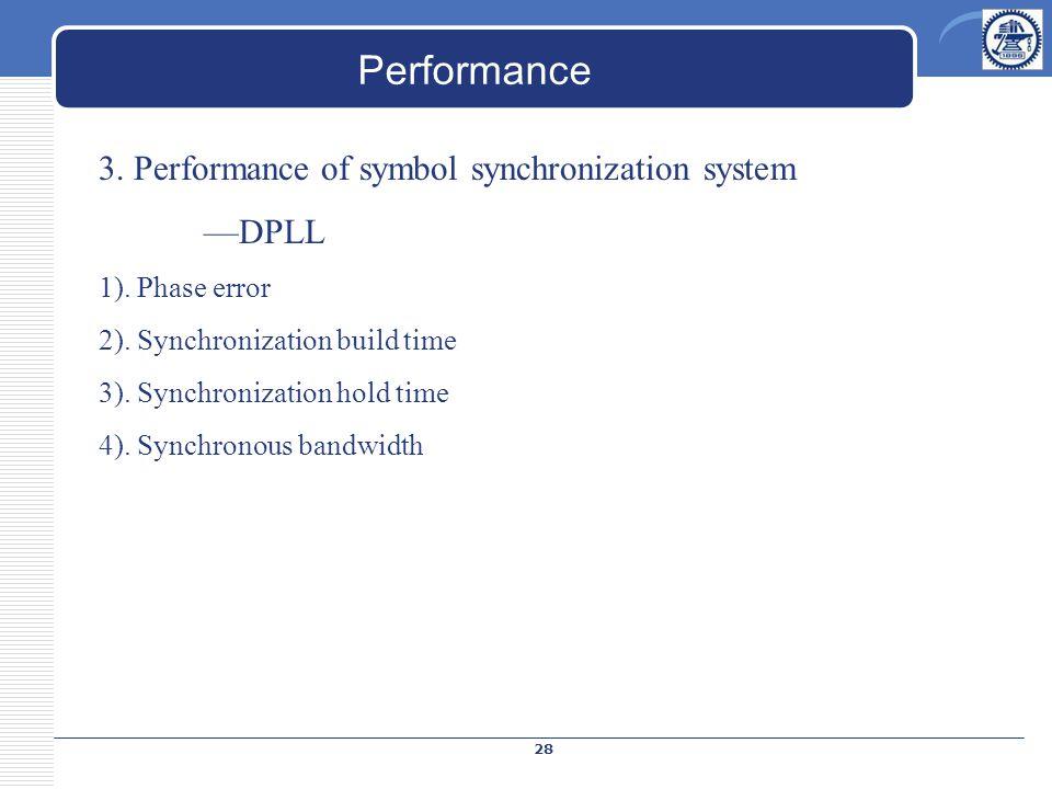 Performance 3. Performance of symbol synchronization system —DPLL 1). Phase error 2). Synchronization build time 3). Synchronization hold time 4). Syn