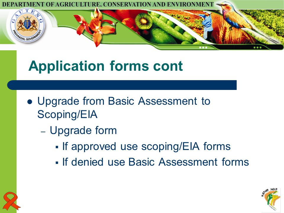 Application forms cont Upgrade from Basic Assessment to Scoping/EIA – Upgrade form  If approved use scoping/EIA forms  If denied use Basic Assessment forms
