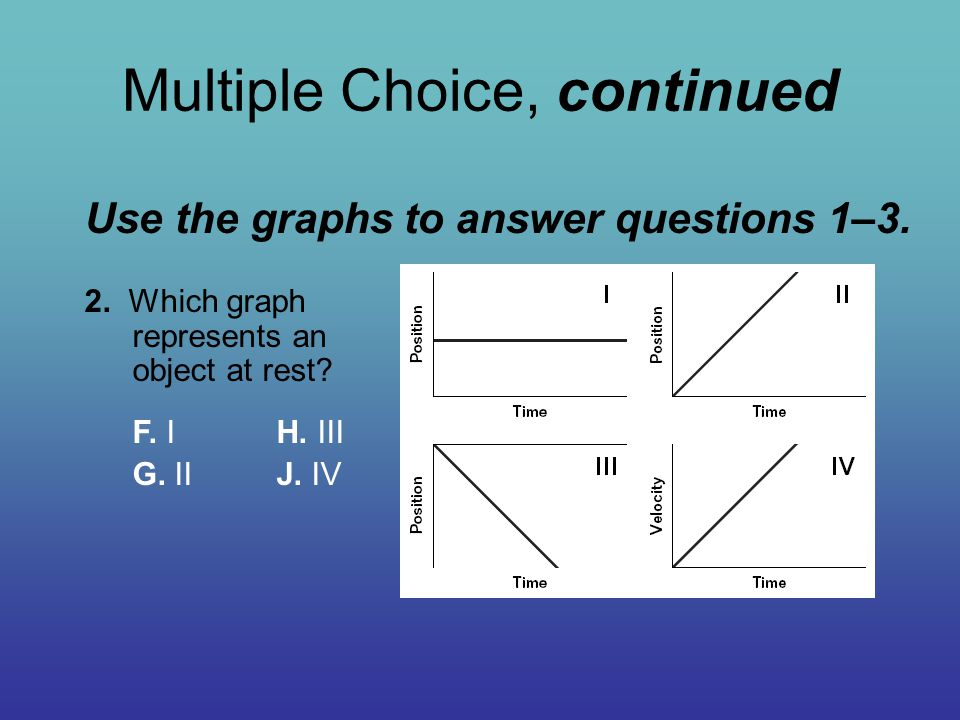 Multiple Choice, continued Use the graphs to answer questions 1–3. 2. Which graph represents an object at rest? F. IH. III G. II J. IV