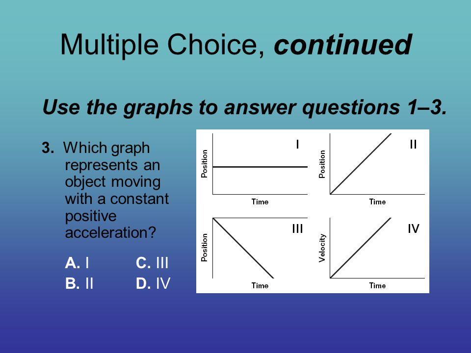 Multiple Choice, continued Use the graphs to answer questions 1–3. 3. Which graph represents an object moving with a constant positive acceleration? A