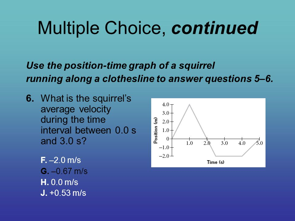 Multiple Choice, continued 6.What is the squirrel's average velocity during the time interval between 0.0 s and 3.0 s? F. –2.0 m/s G. –0.67 m/s H. 0.0