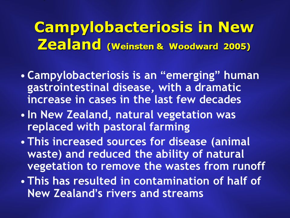Campylobacteriosis in New Zealand (Weinsten & Woodward 2005) Campylobacteriosis is an emerging human gastrointestinal disease, with a dramatic increase in cases in the last few decades In New Zealand, natural vegetation was replaced with pastoral farming This increased sources for disease (animal waste) and reduced the ability of natural vegetation to remove the wastes from runoff This has resulted in contamination of half of New Zealand ' s rivers and streams