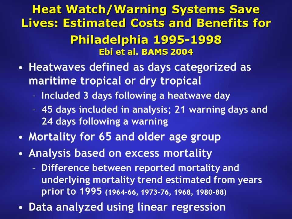 Heat Watch/Warning Systems Save Lives: Estimated Costs and Benefits for Philadelphia 1995-1998 Ebi et al.