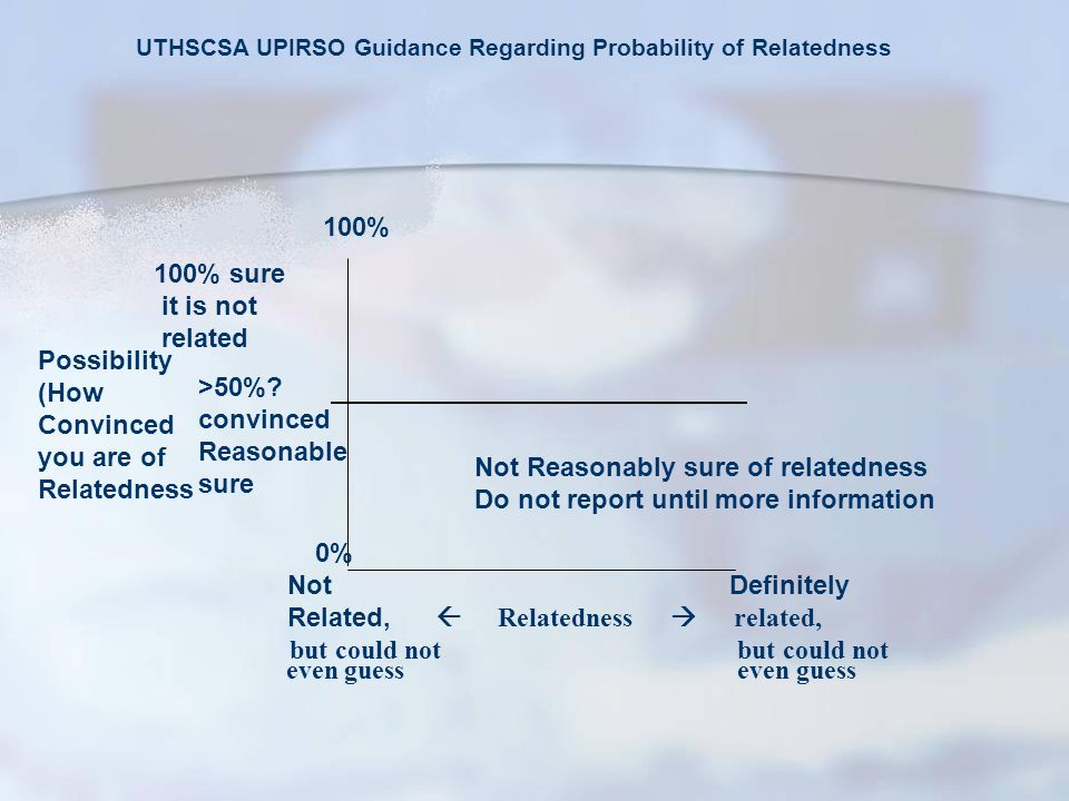 UTHSCSA UPIRSO Guidance Regarding Probability of Relatedness 100% 100% sure it is not related Possibility (How Convinced you are of Relatedness 0% Not Definitely Related,  Relatedness  related, but could not but could not even guess even guess >50%.