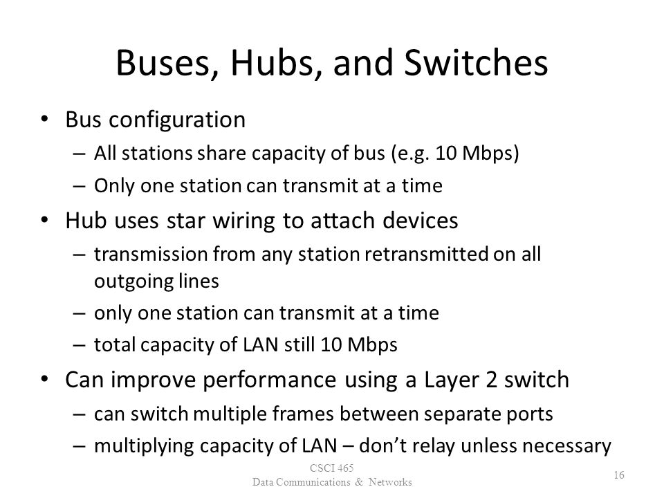 Buses, Hubs, and Switches Bus configuration – All stations share capacity of bus (e.g.