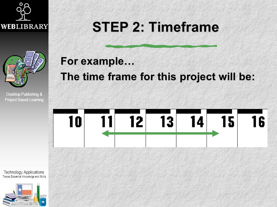 Technology Applications Texas Essential Knowledge and Skills Desktop Publishing & Project Based Learning STEP 2: Timeframe For example… The time frame for this project will be: