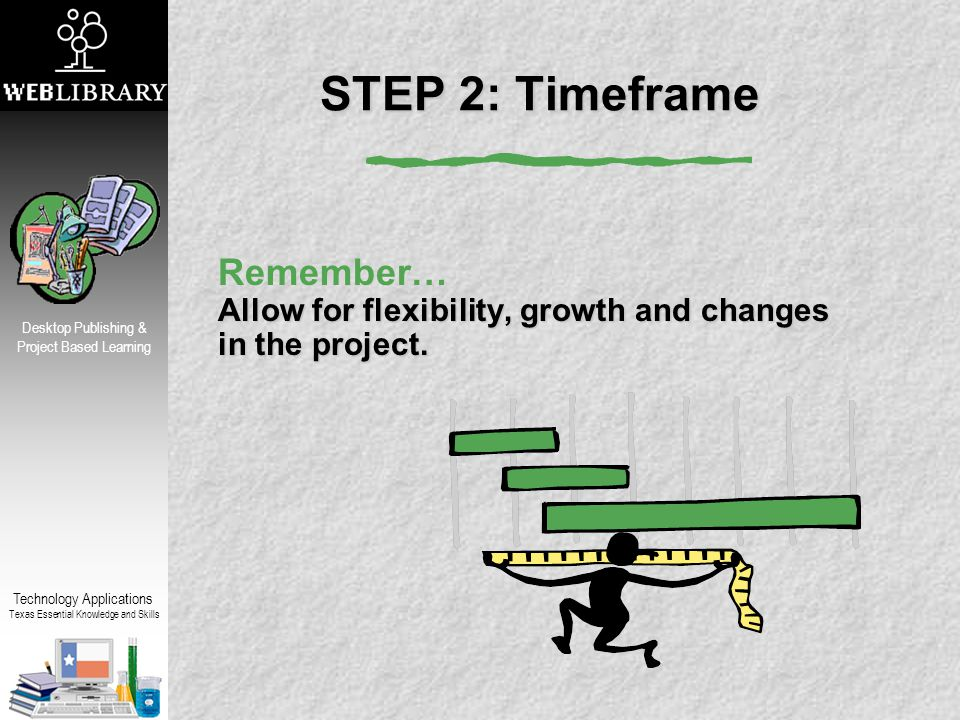 Technology Applications Texas Essential Knowledge and Skills Desktop Publishing & Project Based Learning STEP 2: Timeframe Allow for flexibility, growth and changes in the project.