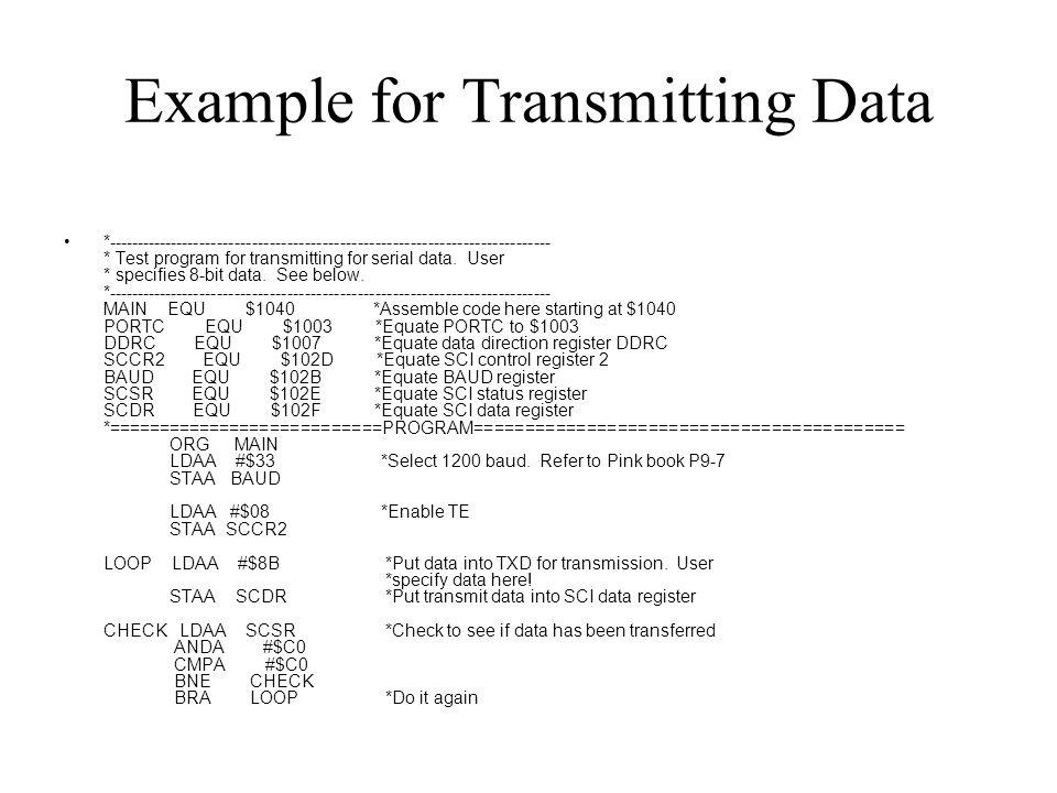 Example for Transmitting Data *---------------------------------------------------------------------------- * Test program for transmitting for serial data.