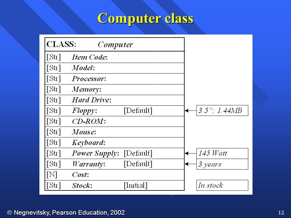  Negnevitsky, Pearson Education, 2002 12 Computer class