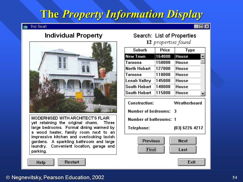  Negnevitsky, Pearson Education, 2002 54 The Property Information Display