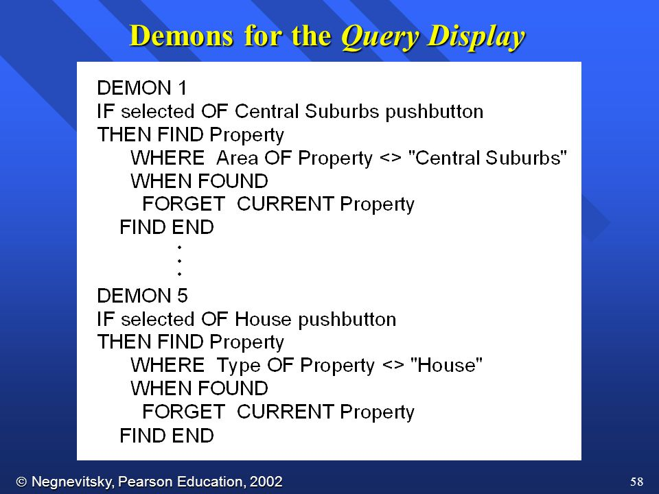  Negnevitsky, Pearson Education, 2002 58 Demons for the Query Display