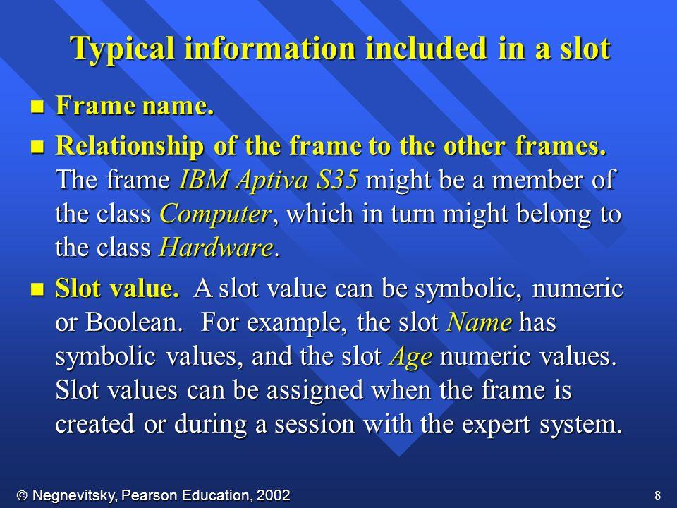  Negnevitsky, Pearson Education, 2002 8 n Frame name.