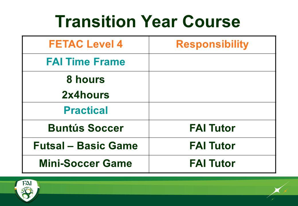 Transition Year Course FETAC Level 4Responsibility FAI Time Frame 8 hours 2x4hours Theory Code of EthicsFAI Tutor Organising a Tournament FAI Tutor Goal Post SafetyFAI Tutor
