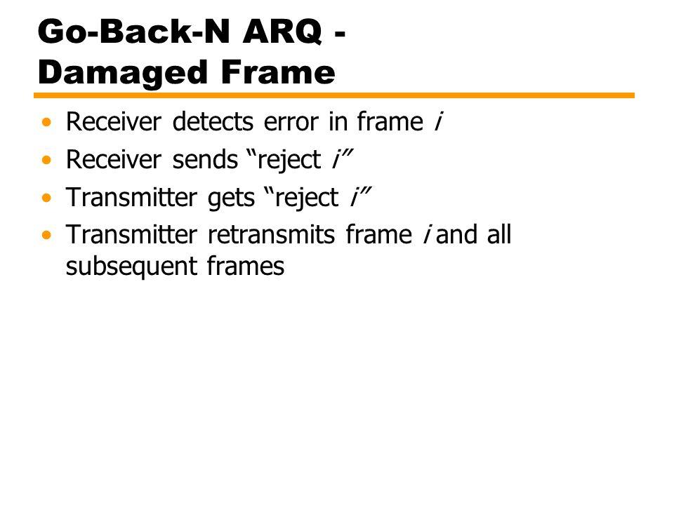 """Go-Back-N ARQ - Damaged Frame Receiver detects error in frame i Receiver sends """"reject i"""" Transmitter gets """"reject i"""" Transmitter retransmits frame i"""