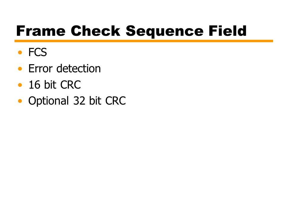 Frame Check Sequence Field FCS Error detection 16 bit CRC Optional 32 bit CRC