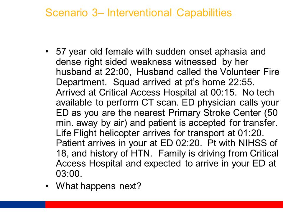 Scenario 3– Interventional Capabilities 57 year old female with sudden onset aphasia and dense right sided weakness witnessed by her husband at 22:00,
