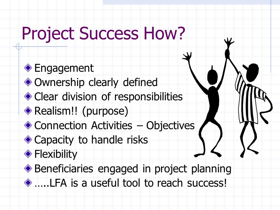 LFA Characteristics Finding the roots before setting the objectives Objectives & beneficiary oriented Participatory/Ownership.