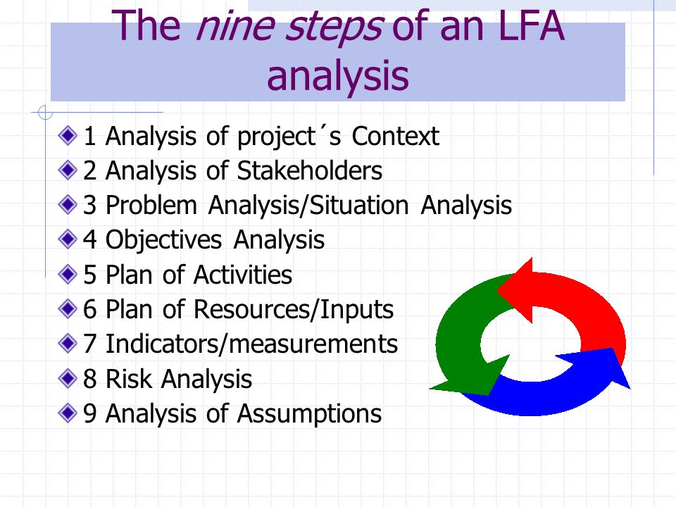 LFA summary Relevant, Feasible and Sustainable projects/programs - success.