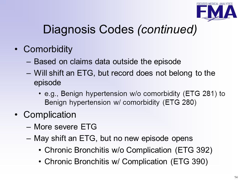 14 Diagnosis Codes (continued) Comorbidity –Based on claims data outside the episode –Will shift an ETG, but record does not belong to the episode e.g., Benign hypertension w/o comorbidity (ETG 281) to Benign hypertension w/ comorbidity (ETG 280) Complication –More severe ETG –May shift an ETG, but no new episode opens Chronic Bronchitis w/o Complication (ETG 392) Chronic Bronchitis w/ Complication (ETG 390)