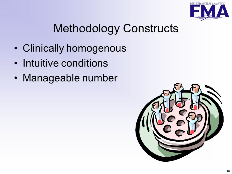 16 Methodology Constructs Clinically homogenous Intuitive conditions Manageable number