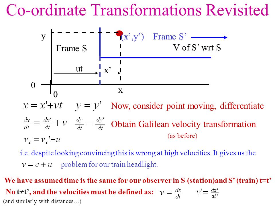 Co-ordinate Transformations Revisited 0 ut Frame S Frame S'(x',y') x' y V of S' wrt S 0 x Now, consider point moving, differentiate Obtain Galilean velocity transformation (as before) i.e.