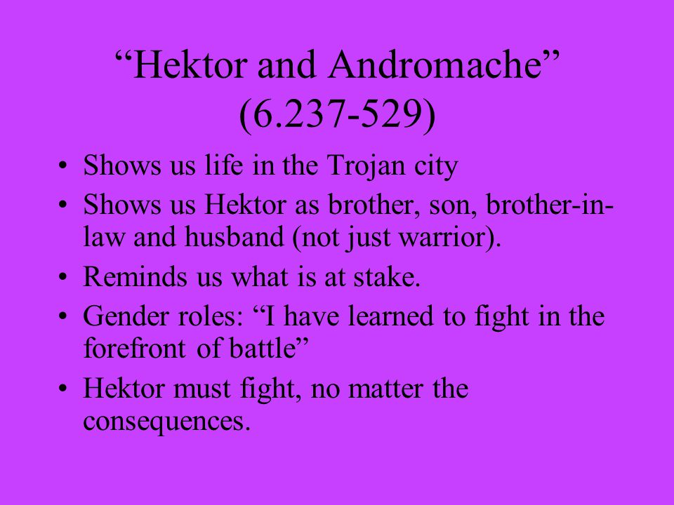 Hektor and Andromache (6.237-529) Shows us life in the Trojan city Shows us Hektor as brother, son, brother-in- law and husband (not just warrior).