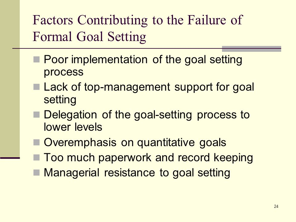 24 Factors Contributing to the Failure of Formal Goal Setting Poor implementation of the goal setting process Lack of top-management support for goal