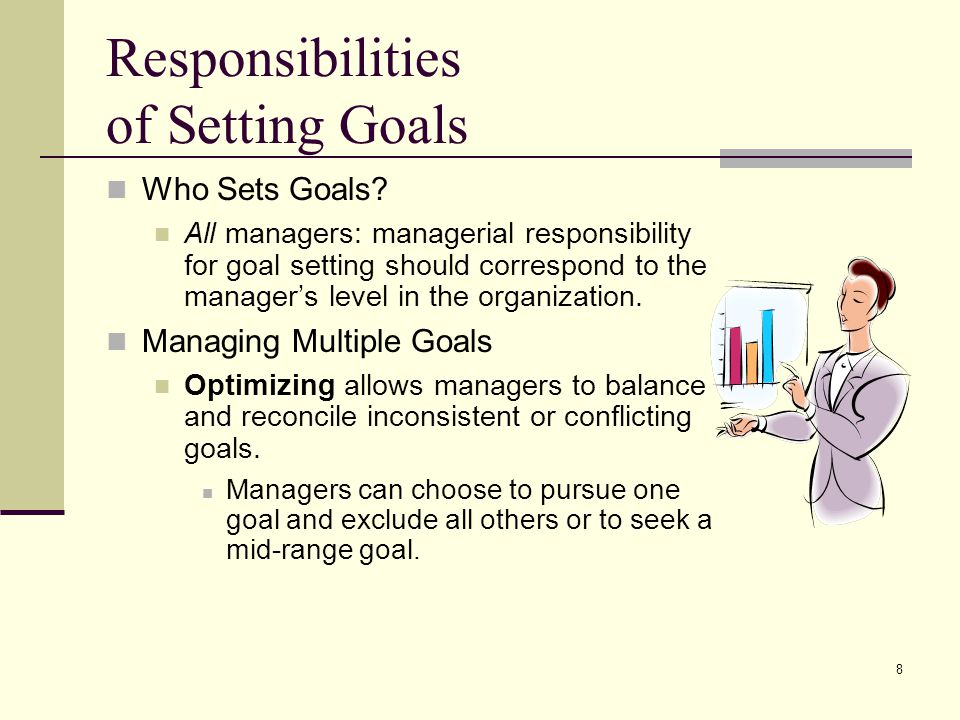 8 Responsibilities of Setting Goals Who Sets Goals? All managers: managerial responsibility for goal setting should correspond to the manager's level
