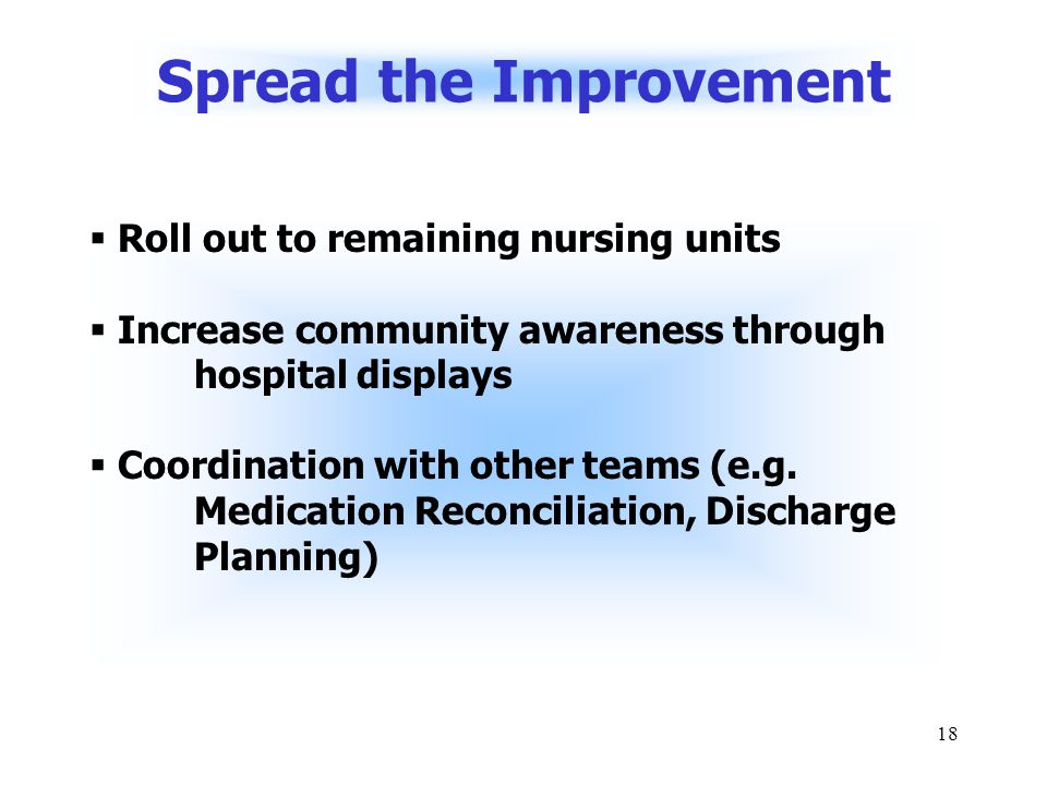 18 Spread the Improvement  Roll out to remaining nursing units  Increase community awareness through hospital displays  Coordination with other teams (e.g.