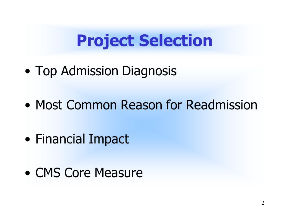 2 Project Selection Top Admission Diagnosis Most Common Reason for Readmission Financial Impact CMS Core Measure