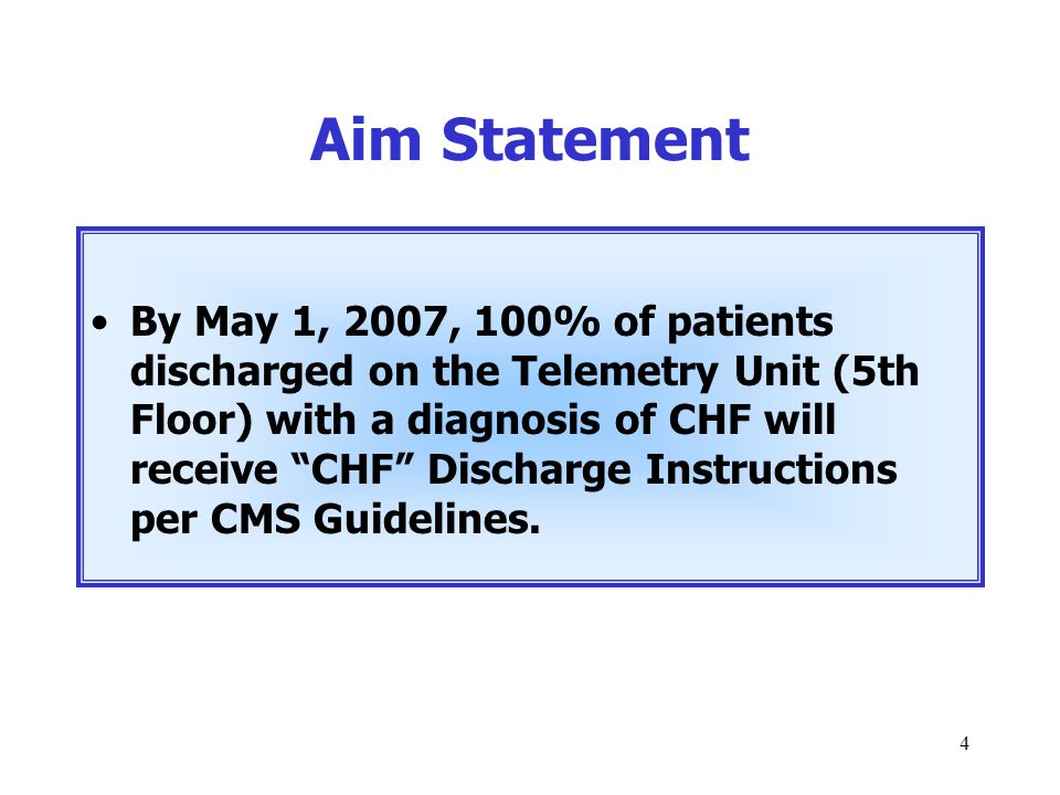 """4 Aim Statement By May 1, 2007, 100% of patients discharged on the Telemetry Unit (5th Floor) with a diagnosis of CHF will receive """"CHF"""" Discharge Ins"""