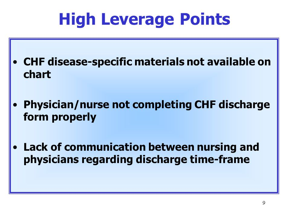 9 CHF disease-specific materials not available on chart Physician/nurse not completing CHF discharge form properly Lack of communication between nursing and physicians regarding discharge time-frame High Leverage Points