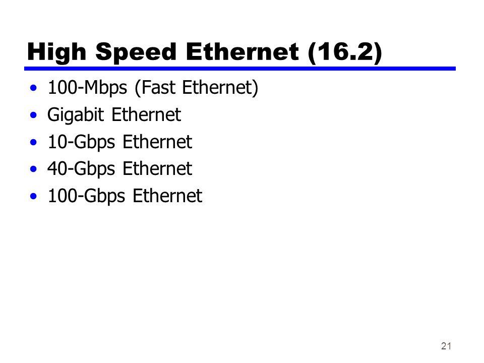 21 High Speed Ethernet (16.2) 100-Mbps (Fast Ethernet) Gigabit Ethernet 10-Gbps Ethernet 40-Gbps Ethernet 100-Gbps Ethernet