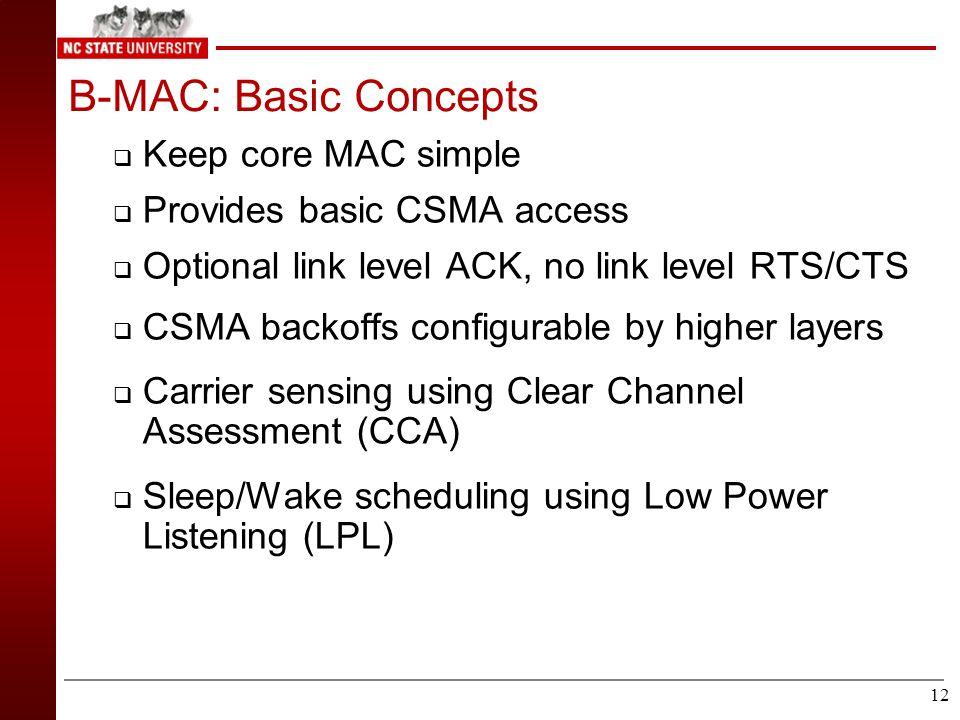 11 S-MAC – Design Node 1 Node 2 sleep listen sleep listen sleep Schedule 2 Schedule 1 Schedules can differ, prefer neighboring nodes to have same schedule Border nodes may have to maintain more than one schedule.