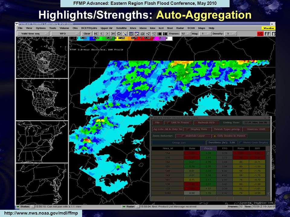 Highlights/Strengths: Auto-Aggregation http://www.nws.noaa.gov/mdl/ffmp FFMP Advanced: Eastern Region Flash Flood Conference, May 2010